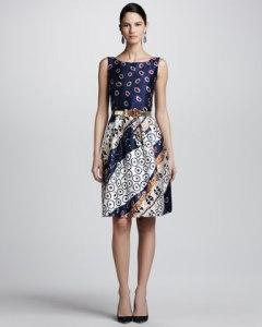 Osca de la Renta Collage print satin dress - USD$2290