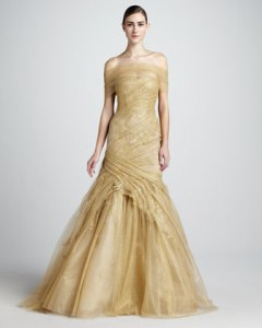 Monique Lhullier Ruched Lace Trumpet Gown - USD$8990